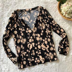 Ann Taylor Black Tan Floral Blouse